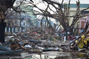Debris lines the streets of Tacloban, Leyte Island
