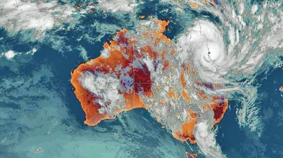 Satellite imagery of Tropical Cyclone Yasi over Australia